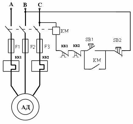 Схема для тепловой защиты двигателя